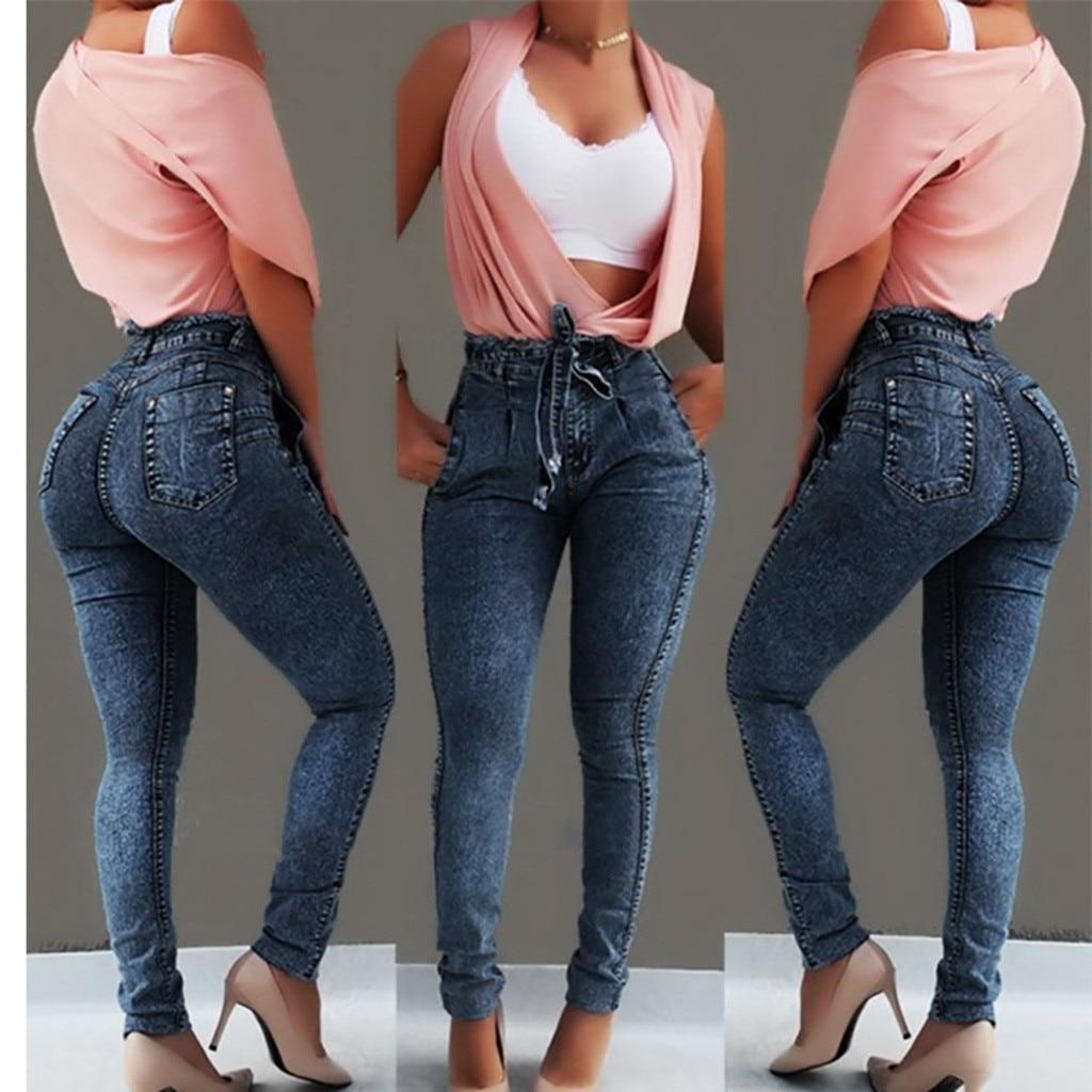 modis Women Elastic Butto Tassel Loose  Denim Casual Small Feet  Slim Fit Jeans vaqueros mujer calca jeans feminina 2019#4