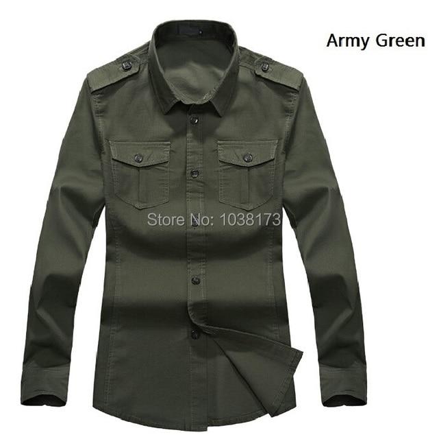 c263c077ec12a Estilo militar hombres camisas de algodón marca uniforme camisa casual  blusas camisa masculina camisas hombre ropa