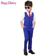 Fashion Boy Suit for Weddings Prom Party 2T-11Y Children Slim Fit Suit Sets Boys Tuxedo Formal Vest Pants Classic Costume Black стоимость