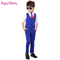 Fashion Boy Suit for Weddings Prom Party 2T 11Y Children Slim Fit Suit Sets Boys Tuxedo Formal Vest Pants Classic Costume Black