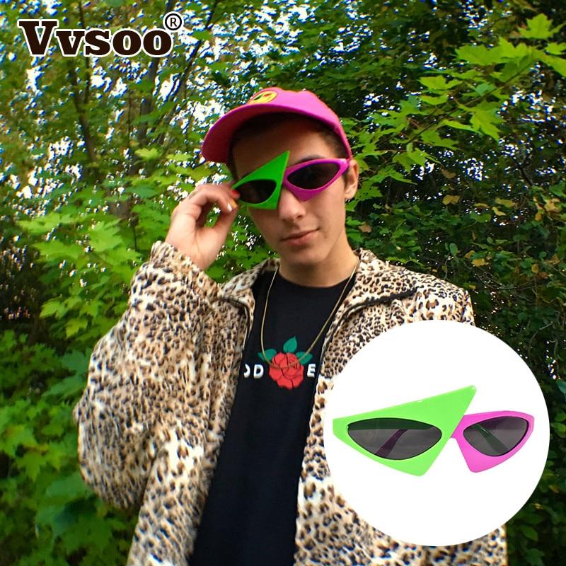Новинка зеленые розовые очки контрастного цвета Roy Purdy стиль хип хоп Асимметричные треугольные очки украшения для вечеринок|Маски для вечеринки|   | АлиЭкспресс