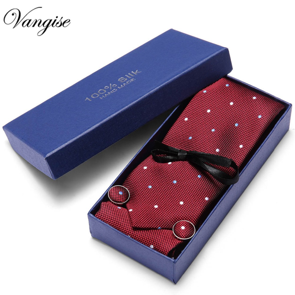 New Arriving Ties Men Fashion 2019 New Design wine red Polka Dot Neck Tie Pocket Square Cufflinks Set for Mens Business Party in Men 39 s Ties amp Handkerchiefs from Apparel Accessories