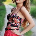 Sexy Women Floral Print Padded Bralette Bustier Bra Crop Tops Blouse Party Tank Corset 2016 ZT1