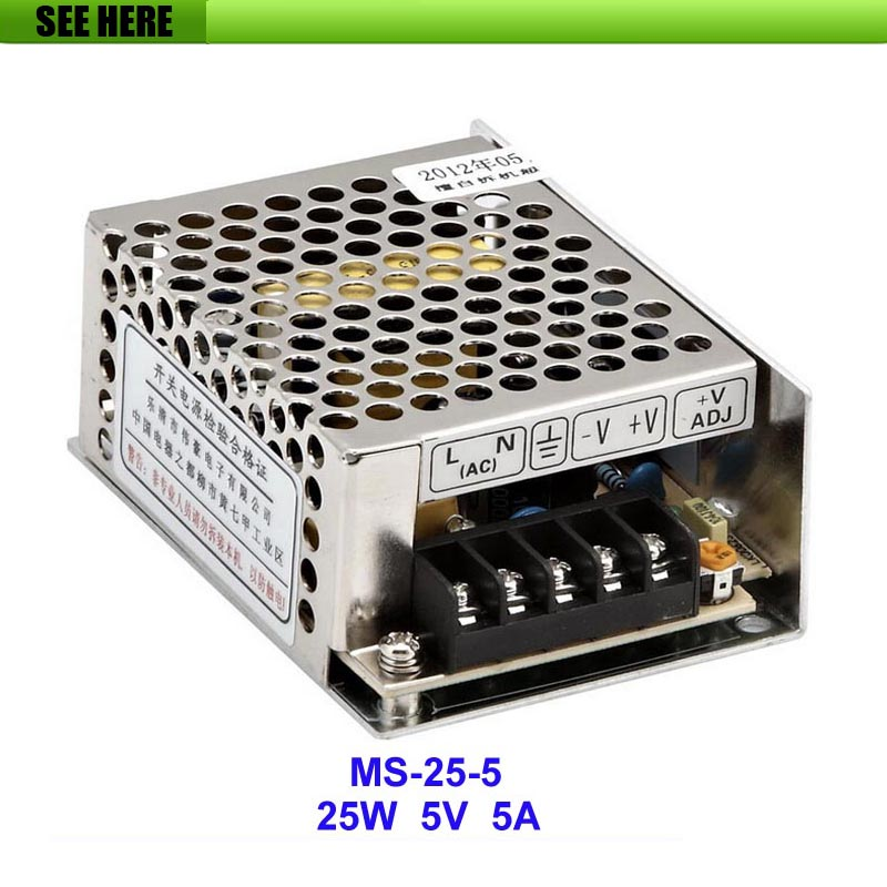 Free Shipping MS-25-5 25W 5V 5A Mini size LED Switching Power Supply Transformer 110V -240V AC to DC 5V Output