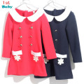 2016 New autumn & winter long-sleeved Girls dress solid double-breasted navy blue sweet clothing