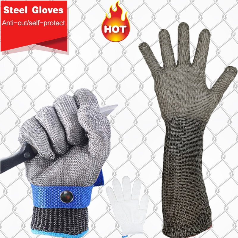 Brand High Quality Safety Gloves Stainless Steel Wire Braided Cut Proof Protect Metal Mesh Working Gloves Men Level 5 Protection