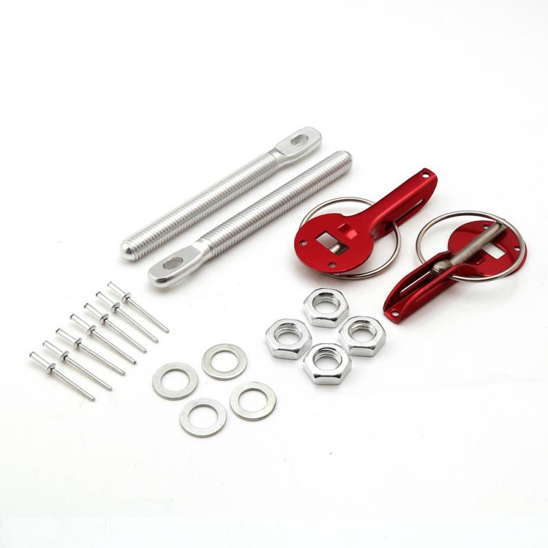 New Universal Liga de Alumínio Fechadura Capô Do Motor de Modificação Do Carro Puxando Tipo Bonnet Bloqueio Kit