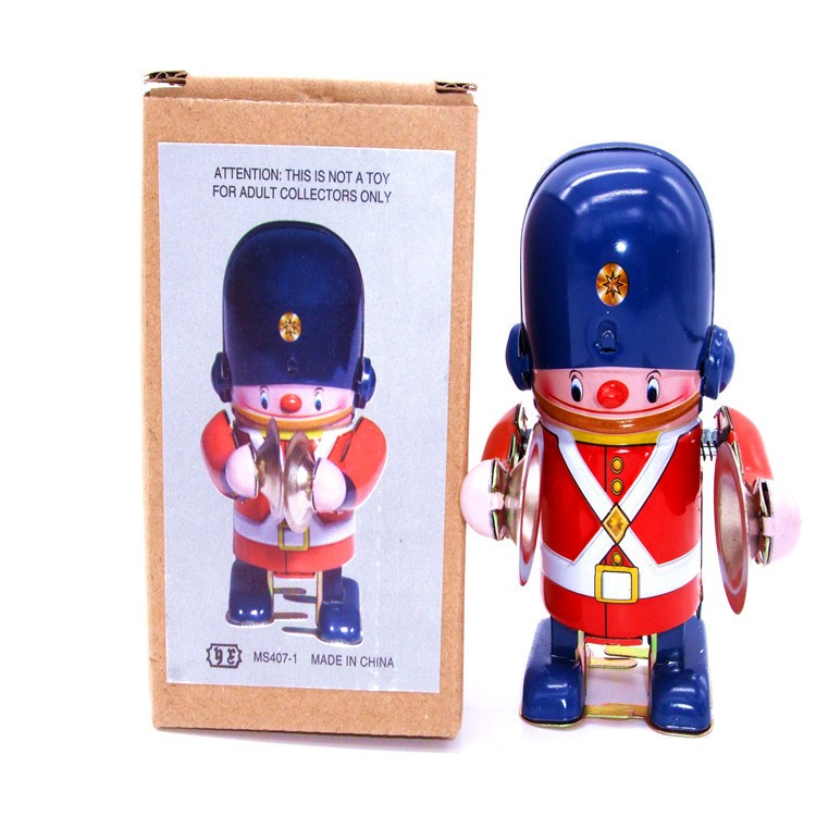 [Temila] Classic collection Retro Clockwork Wind up Metal Walking Tin brass military band robot toy Mechanical toys kids gift