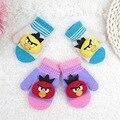 Korean  Children Winter Gloves  Cute Cartoon Angry Bir Package Refers Wool Gloves Selling  Baby Gloves