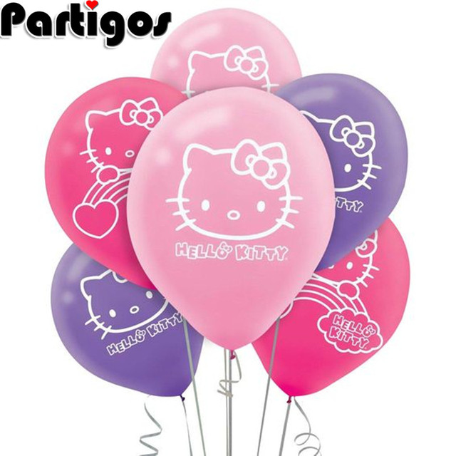 10pcs Hello Kitty Cat Birthday Party Decoration Balloons Child Baby Shower Boy Girl Happy Wedding Inflatable Balloon