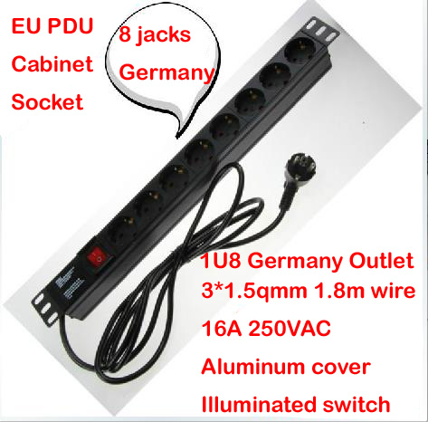 Aluminum case 16A 250VAC 8 jacks 1U Germany EU PDU outlet IEC Power cord socket illuminated ON OFF Switch with 1.8m 1.5mm wire купить
