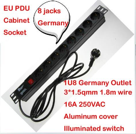 ФОТО Aluminum case 16A 250VAC 8 jacks 1U Germany EU PDU outlet IEC Power cord socket illuminated ON OFF Switch with 1.8m 1.5mm wire