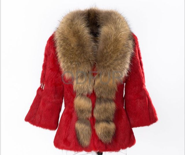 Autumn Ladies' Real Rabbit Fur Jacket Coat Raccoon Fur Collar Winter Women Fur Short Outerwear Coats  (QD28336)