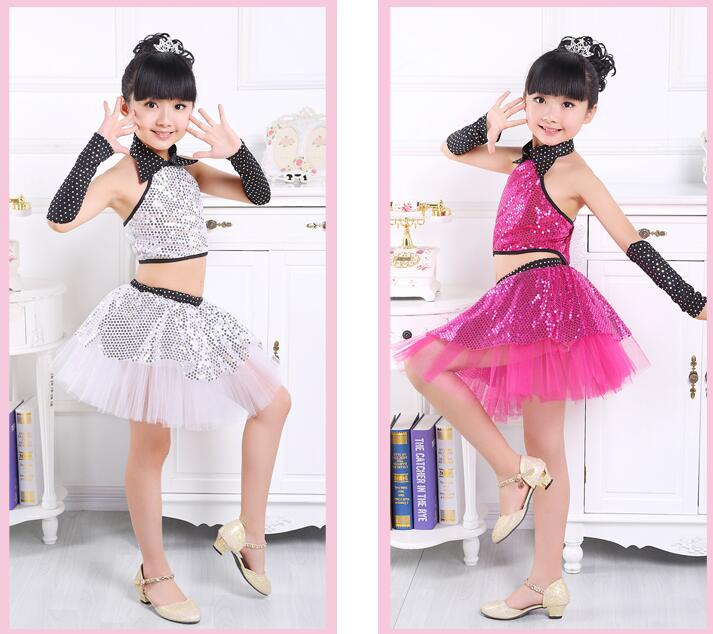 2019 Children Sequin Jazz Dance Modern Dance Costume Fashion Latin Waltz Dancing Dress Stage Show Dresses Jazz Costumes For Girl