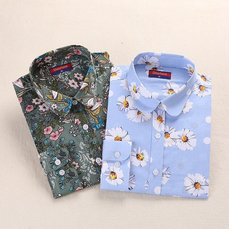 2018 Summer Cotton Women Blouses Fruit Print Shirts Long Sleeve Women Shirt Turn Down Collar Bohemia Casual Blouse Blusas 5XL