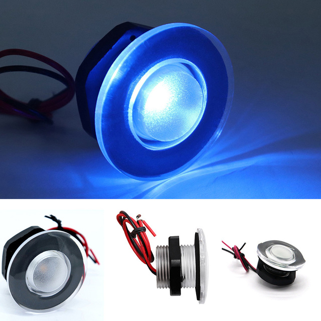 Us 4 15 10 Off Boat Marine Caravan Car 12v Led Light Round Lamp Courtesy Stairway Lighting Dome Blue Styling In Decorative From