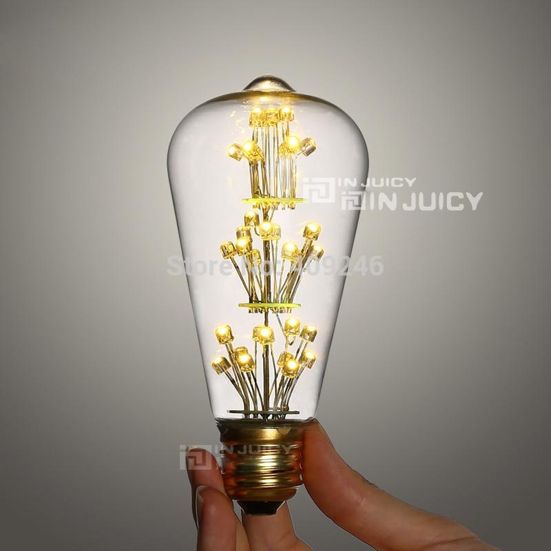 10pcs Lot Wholesale Retro Lamp Edison Led Energy Saving Bulb St64 All Over The Sky Star 3watt