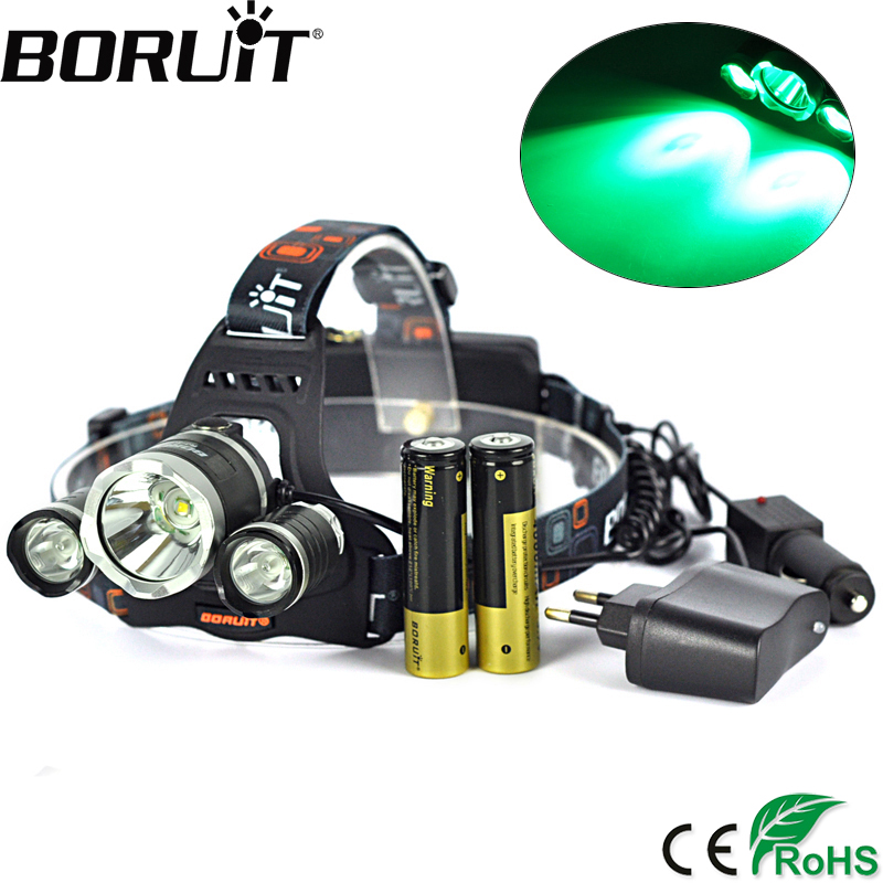 Boruit 5000LM XML T6 XPE Green LED Headlamp 3 Mode Rechargeable Headlight Camping Hunting Head Lamp