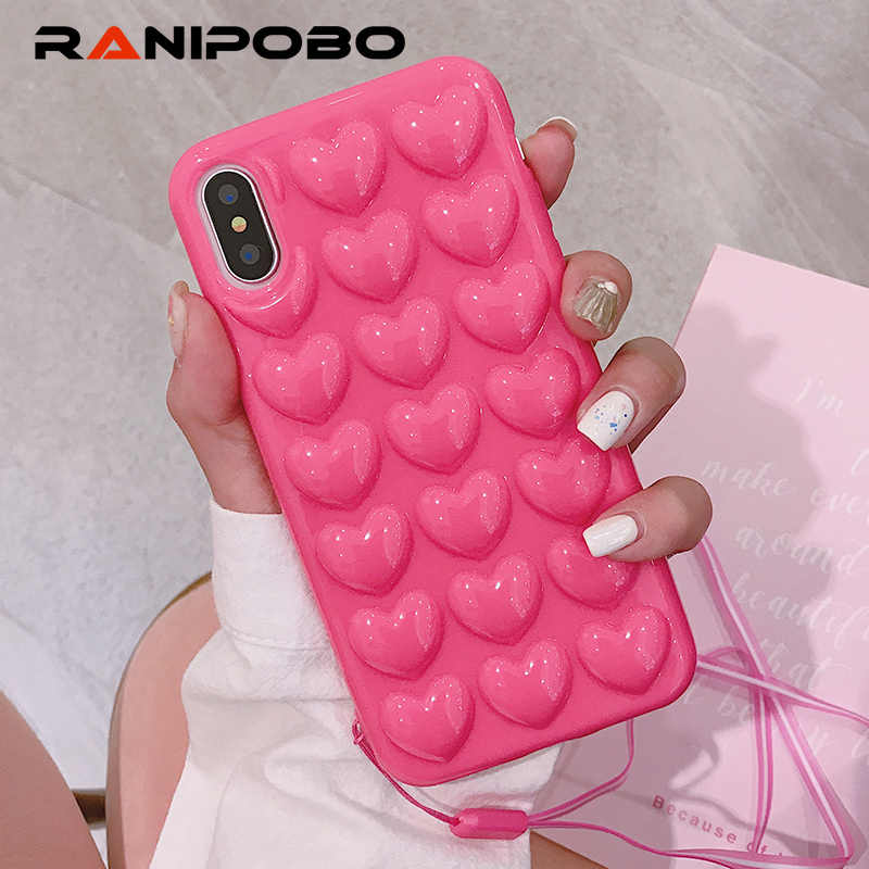 ed237ac9b30d2 Luxury Candy Color 3D love heart phone case For iPhone X Fashion Soft TPU  Silicone strap