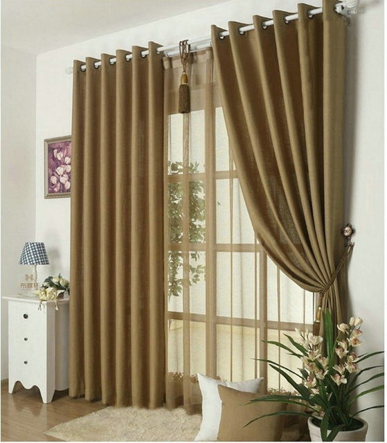 New Arrival Solid Color Curtains For Living Room Plain Voile 9 Colors Grey Burgundy Yellow Violet White Shade Drapery