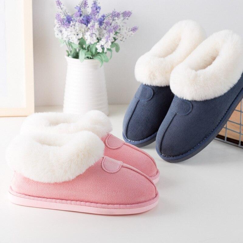 STONE VILLAGE New cotton slippers women thick winter plus velvet cotton shoes women winter warm plush slippersSlippers   -