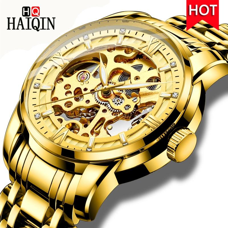 Automatic Mechanical Watch HAIQIN 2018 New Luxury Watch Men Fashion Business Wristwatch Waterproof Hollow Stainless Steel Watch