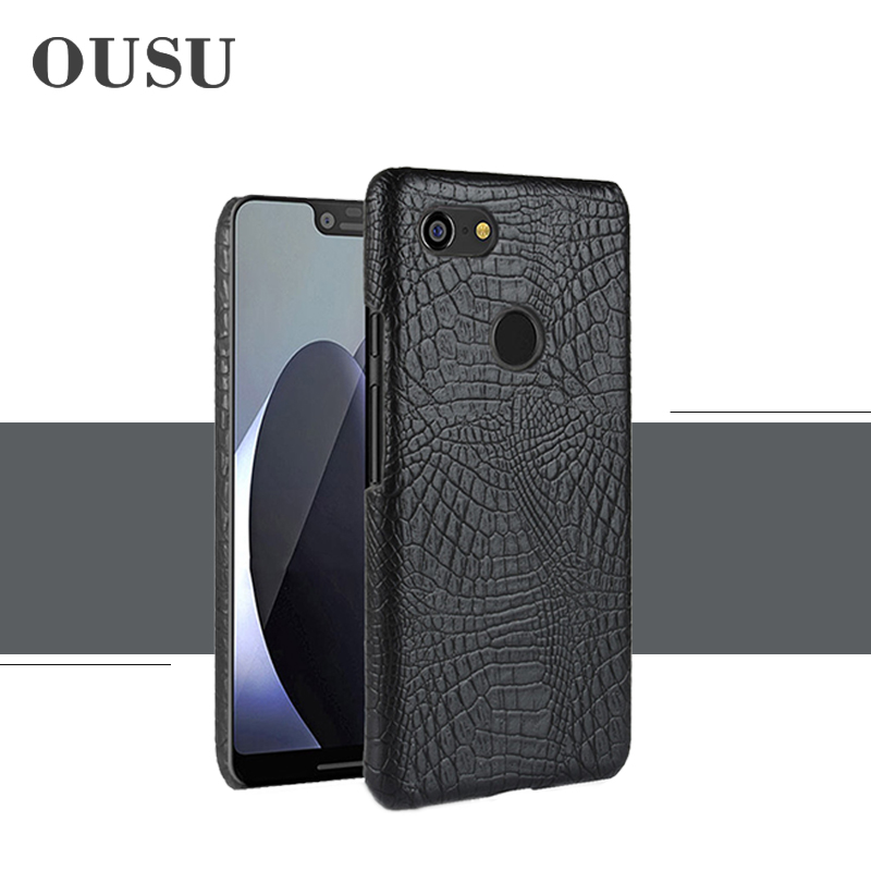 OUSU Luxury Crocodile Leather Vintage Case For Google Pixel 3XL Original Successful Business Cases Cover Anti-knock Protective