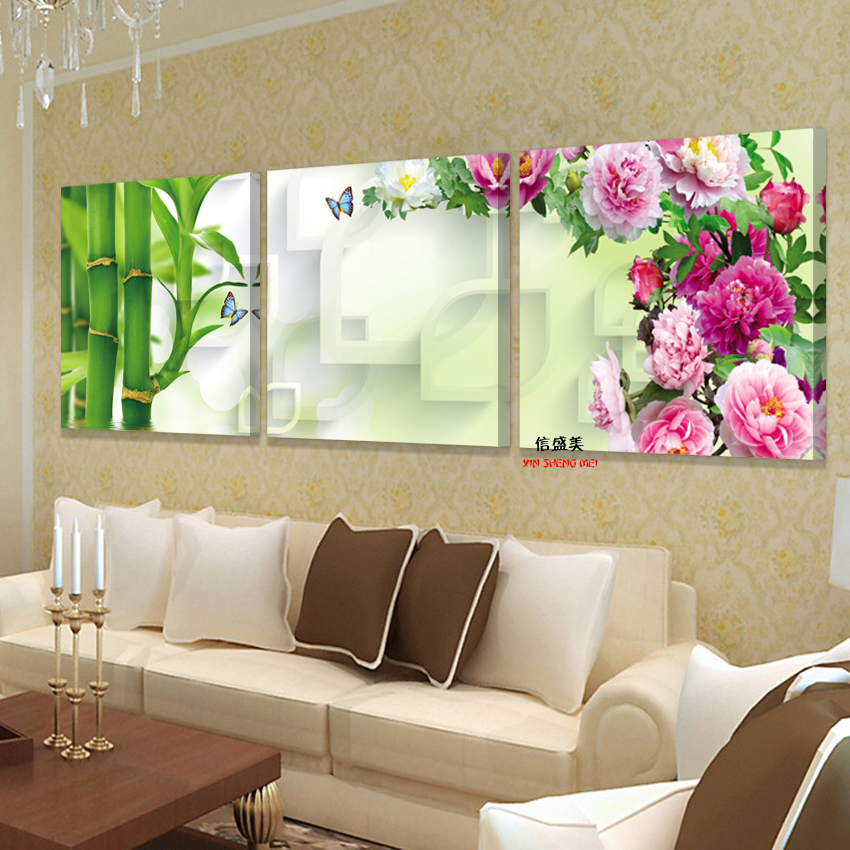 3 Piece Peonies Bamboo Wall Art Modern Painting Pictures Print On Canvas  Paintings For Living Room Cuadros Decoracion No Frame