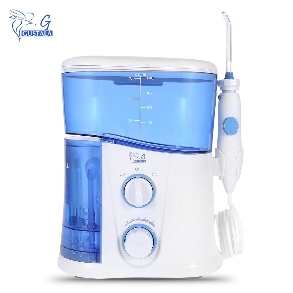 Gustala 1000 ML Electric Dental Jet Flosser Power Water Oral Care Floss Family Teeth Cleaner Irrigator Series 7 Nozzles EU Plug 9 nozzles low noise oral irrigator water flosser irrigador dental floss jet dental spa teeth cleaning tooth cleaner hygiene care