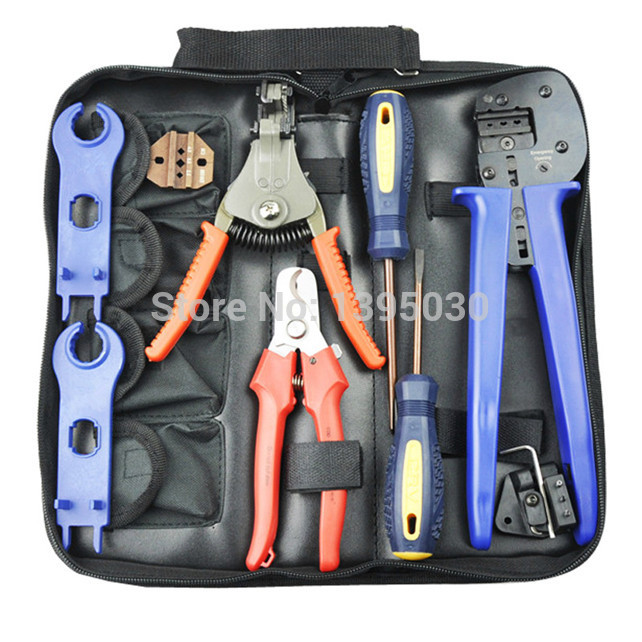 1Set A-2546B Combination Cutting Crimping Stripping Pliers For Solar PV Tool Kits With Test Wire pz0 5 16 0 5 16mm2 crimping tool bootlace ferrule crimper and 1k 12 awg en4012 bare bootlace wire ferrules