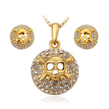 18k gold Austrian crystal jewelry sets personality skull necklace earrings jewelry for women fashion collar men jewelry channels