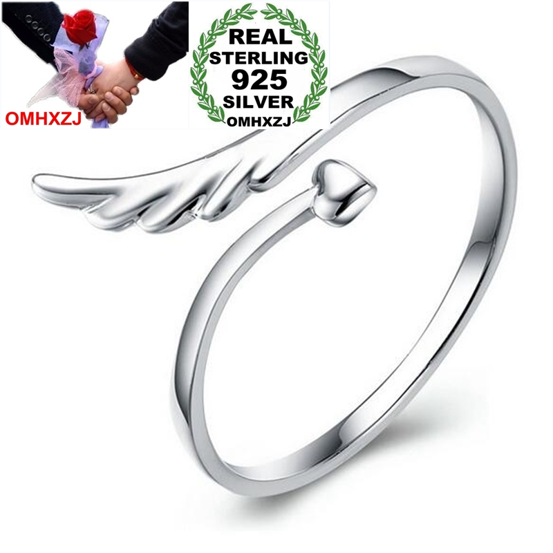 OMHXZJ Wholesale Fashion Romantic Angel wings Lovers Couple 925 Sterling Silver open adjust female for Woman Man Ring Gift RG07