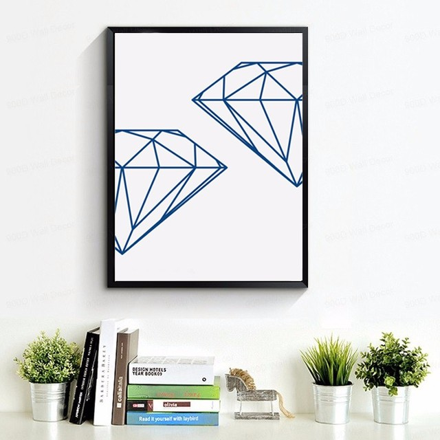 Navy Geometric Diamond, Wall Prints Wall Art Print, Diamonds Canvas ...