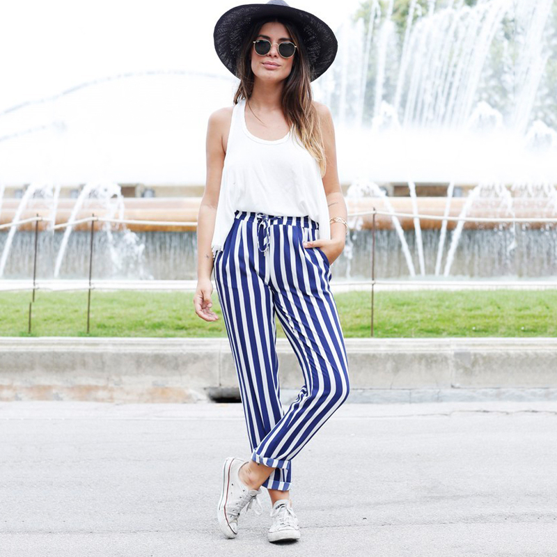2019 New Striped OL Chiffon High Waist Harem Pants Women Stringy Selvedge Summer Style Casual Pants Female Trousers
