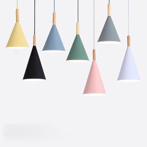 Image 1 - Lampe led suspendue en bois au design nordique minimaliste, coloré, luminaire décoratif dintérieur, idéal pour une salle à manger, un Bar ou une vitrine, E27