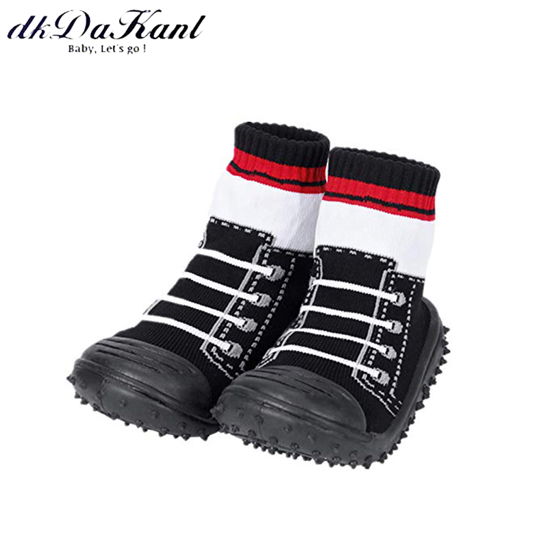 Anti-slip Floor Socks Boots With Rubber Soles For Baby Toddler Kids Cotton Shoes
