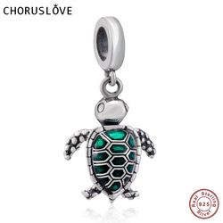 Choruslove Hot Sale New 925 Sterling Silver Sea Turtle Dangle fits European Style Bracelets for Girl Birthday Gift SS3696