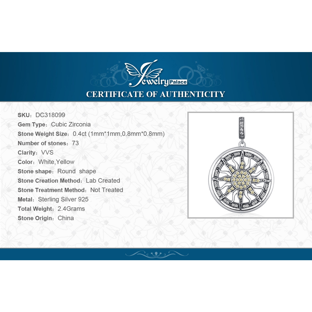 Купить с кэшбэком JewelryPalace Celestial Sun 925 Sterling Silver Cubic Zirconia Charm Statement Pendant Necklace Women Jewelry No Chain