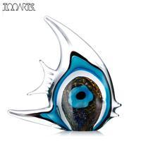 Tooarts Blue Stripe Tropical Fish Glass Figurine Southeast Asia Art Favor Craft Gift Glass Figurine Home Decoration