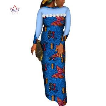 2019 African Dresses for Women Applique Ankara Print Evening Long Dresses Bazin Riche Dashiki African Long Sleeve Robe WY3747
