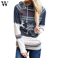 Womail 2017 Autumn Sweatshirts Hoodies Womens Christmas Warm Women Zipper Polka Dot Print Tops Hooded Sweatshirt