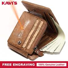 KAVIS New Free Engraving Trifold Genuine Leather Wallet Men Coin Purse Male Cuzdan Portomonee PORTFOLIO Card Holder Crazy Horse(China)