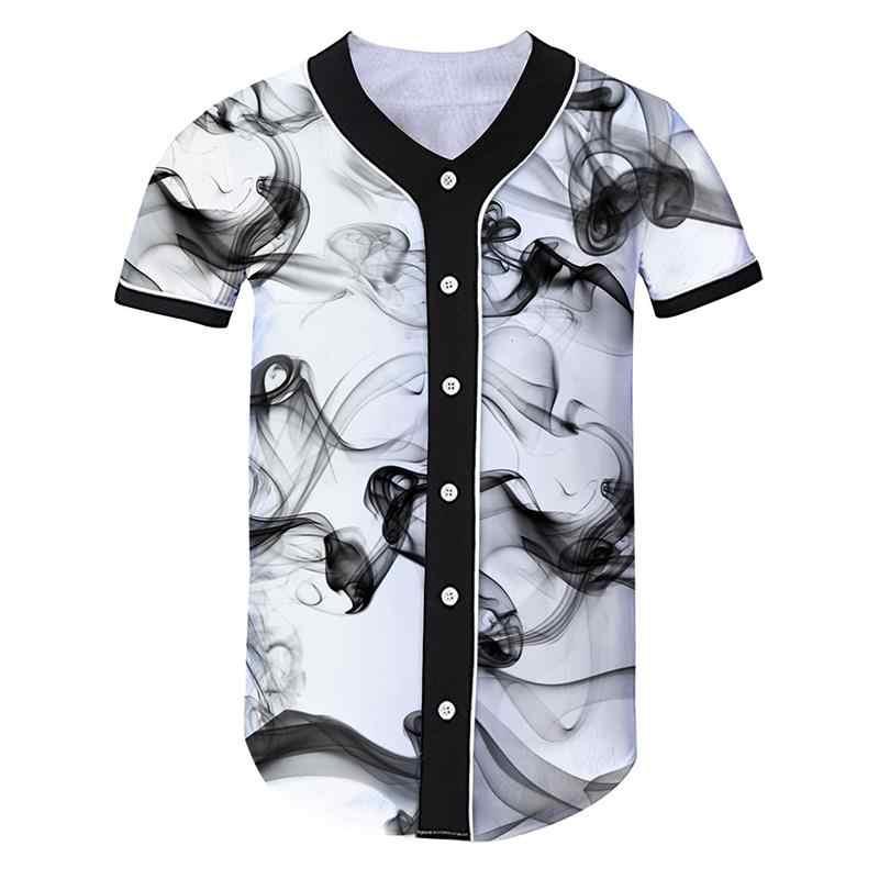 3D бейсбольная рубашка мужская Всплеск чернила бейсбольная Джерси короткий рукав Slim Fit Мужская Футболка Harajuku хип хоп Уличная