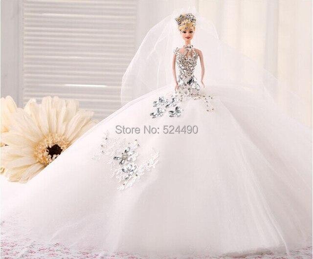 Doll + Dress + Veil / Handmade Royal Luxury White Crystal