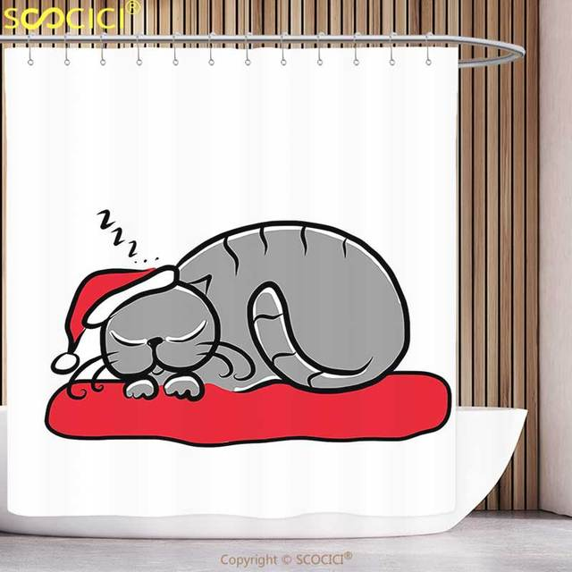 Stylish Shower Curtain Christmas Decorations Collection Sleeping Cat With Santa Hat And Whiskers On Pillow Winter Night Cartoon