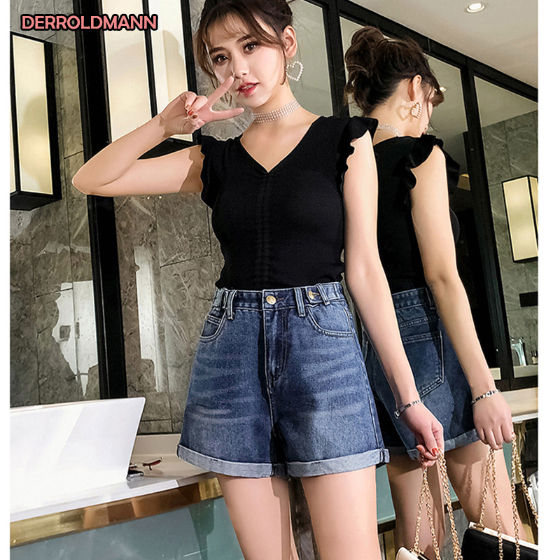High Waist Ladies Jeans Sexy Short Pants Straight Denim Washed Cuffs Bleached Jeans Women Cotton Denim With Pocket