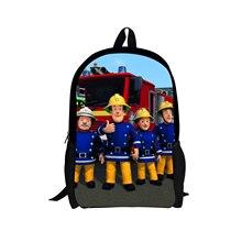 08cc87cc666 ELVISWORDS Cartoon Brandweerman Sam Schooltassen voor Jongens 2018 Nieuwe  Schooltassen voor Kinderen Bool Tassen voor Primaire