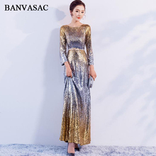 BANVASAC 2018 O Neck Metal Leaf Sash Mermaid Long Evening Dresses Elegant Sequined Sleeve Backless Party Prom Gowns