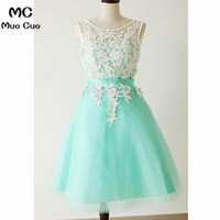 2018 Aqua Homecoming dress Short with Appliques Sleeveless Knee length Tulle cocktail party Dress short homecoming dress