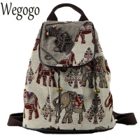 New Ethnic Embroidery Backpack Elephant Embroidered Backpack Canvas Shoulder Bag Travel Rucksack Schoolbag Women Mochila